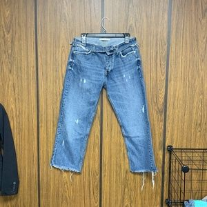 Zara Jeans - NEW Zara Fold Over Waist Straight Jeans Folded